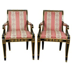 20th Century Pair of American Empire Armchairs