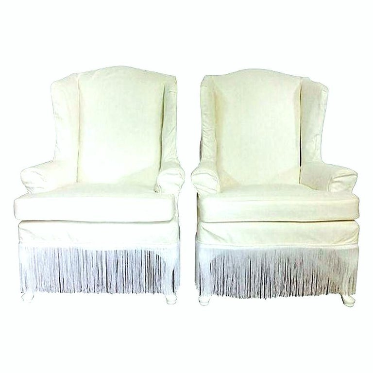 Lacquered 20th Century Pair Of American Queen Anne Style Wing Back Chairs For Sale