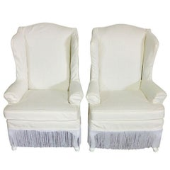 20th Century Pair Of American Queen Anne Style Wing Back Chairs
