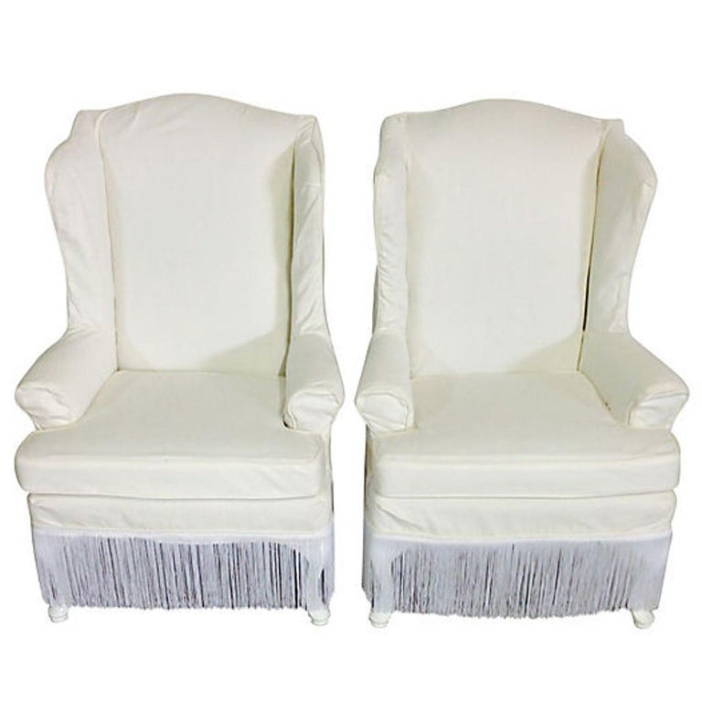 20th Century Pair Of American Queen Anne Style Wing Back Chairs For Sale