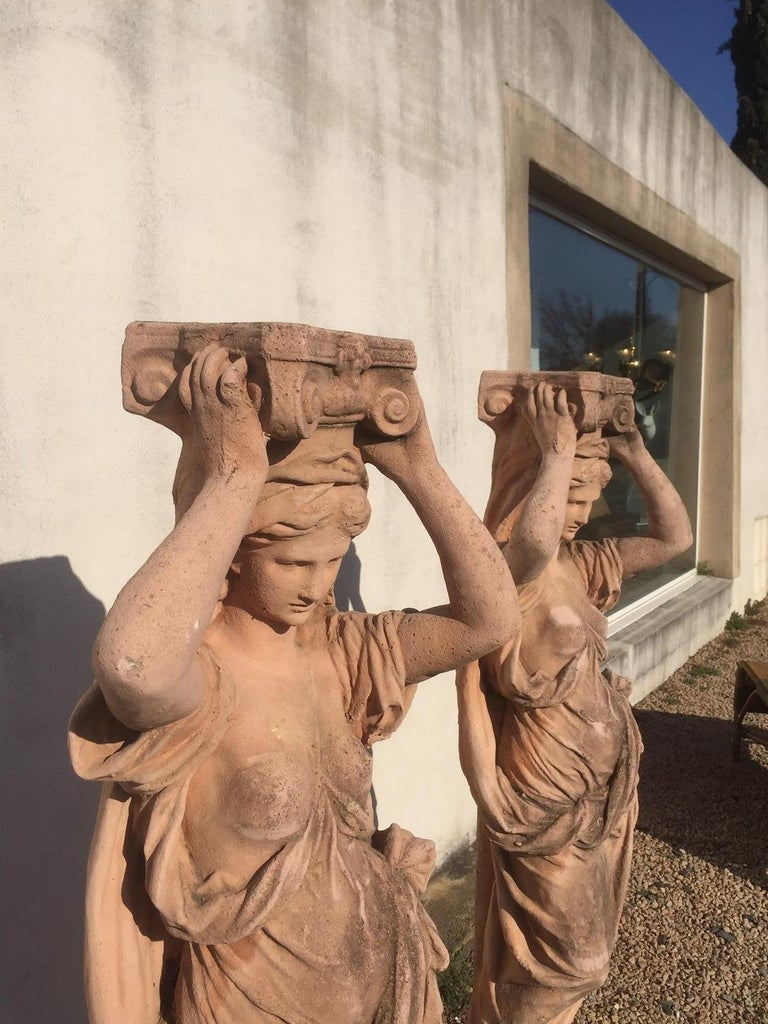 20th Century, Pair of Antique Greek Cariatide Stone Statues, 1950s For Sale 4