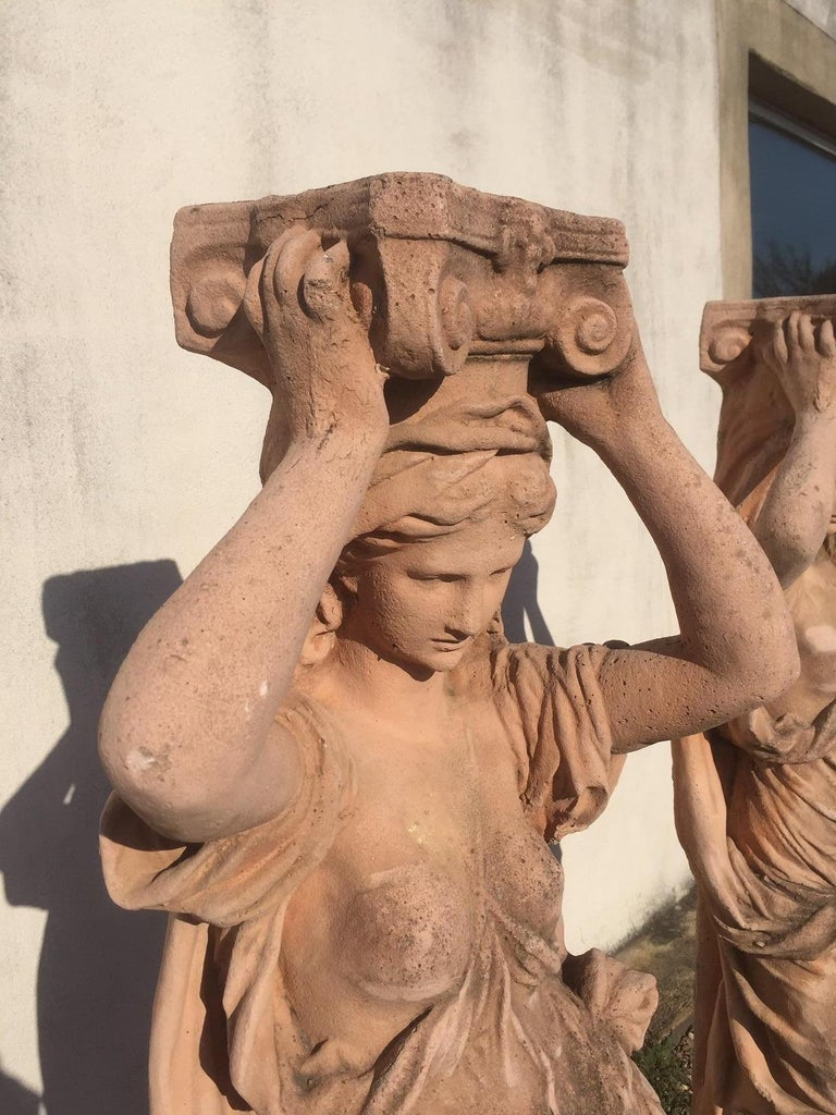 20th Century, Pair of Antique Greek Cariatide Stone Statues, 1950s For Sale 5