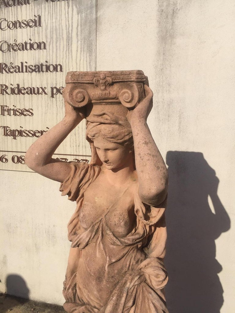 20th Century, Pair of Antique Greek Cariatide Stone Statues, 1950s For Sale 10