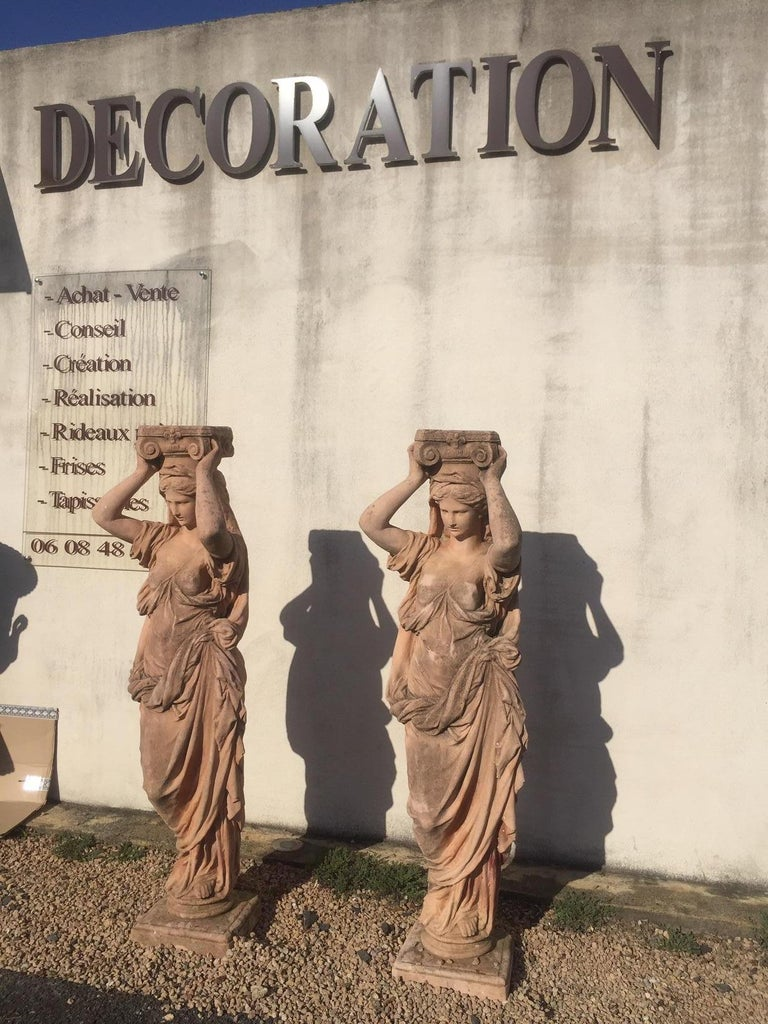 Classical Greek 20th Century, Pair of Antique Greek Cariatide Stone Statues, 1950s For Sale