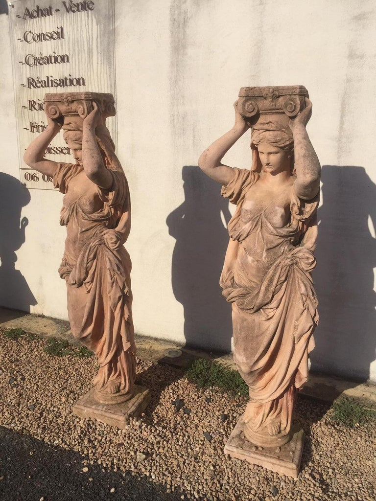 French 20th Century, Pair of Antique Greek Cariatide Stone Statues, 1950s For Sale