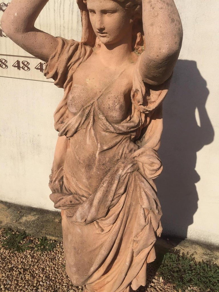 20th Century, Pair of Antique Greek Cariatide Stone Statues, 1950s For Sale 2