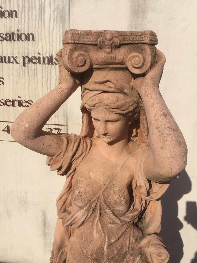 20th Century, Pair of Antique Greek Cariatide Stone Statues, 1950s For Sale 3