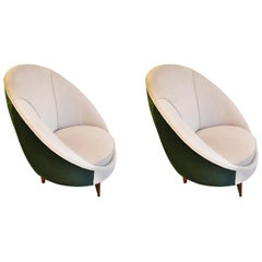 20th Century Pair of Armchairs in the Style of Ico Parisi White and Green Velvet