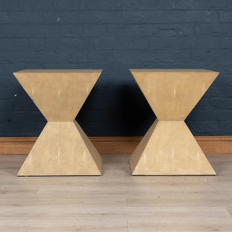 Shagreen 20th Century Pair of Art Deco Inspired Side Tables by Julian Chichester For Sale