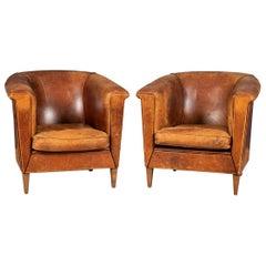 20th Century Pair of Art Deco Style Dutch Sheepskin Leather Club Chairs