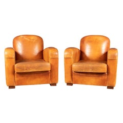 20th Century Pair of Art Deco Style French Sheepskin Leather Club Chairs