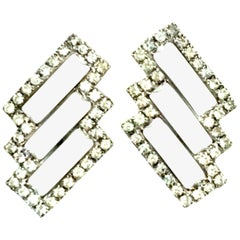 20th Century Pair Of Art Deco Style Silver Austrian Crystal & Lucite Earrings