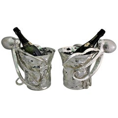 20th Century Pair of Artistic Octopus Silver Wine Coolers, Italy, 1930s