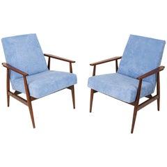 20th Century Pair of Baby Blue Dante Armchairs, H. Lis, 1960s