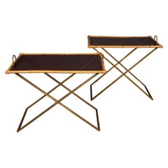 20th Century Pair of Bamboo & Brass Butler Tables, c.1970