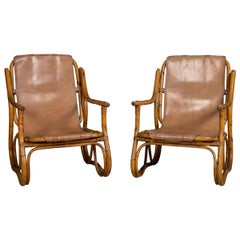 20th Century Pair of Bamboo Frame and Leather Chairs, circa 1950