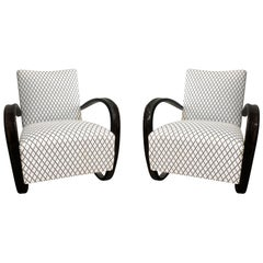 20th Century Pair of Beechwood Lounge Chairs by Jindrich Halabala