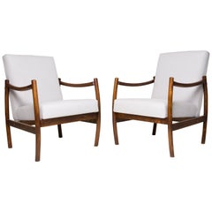 20th Century Pair of Beige Club Armchairs, Poland, 1960s