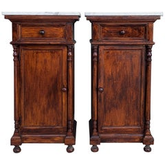 20th Century Pair of Biedermeier Nightstands with Marble Top, One Drawer & Door