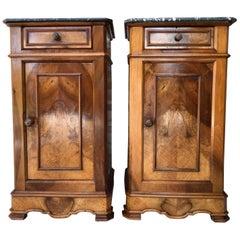 20th Century Pair of Biedermeier Nightstands with Marble Top, One-Drawer & Door
