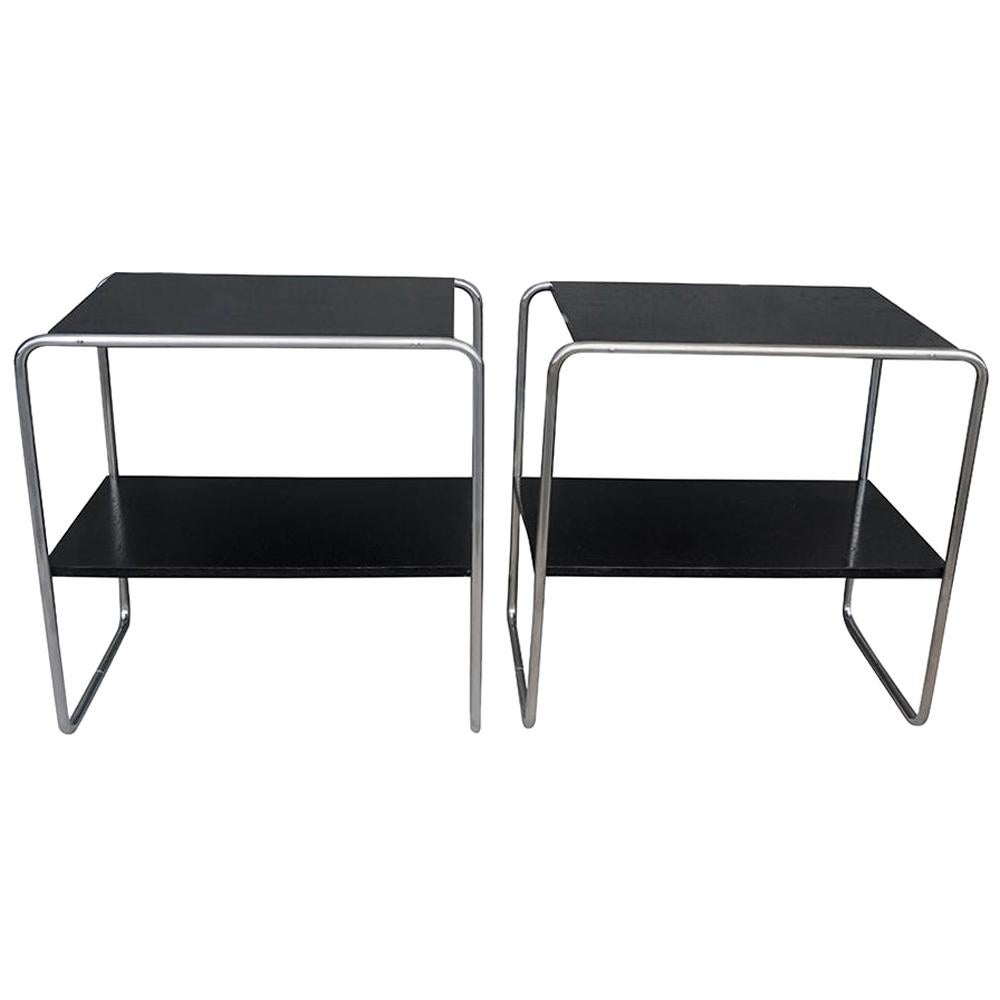 20th Century Pair of Black Console Tables, Austrian Side Tables by Marcel Breuer