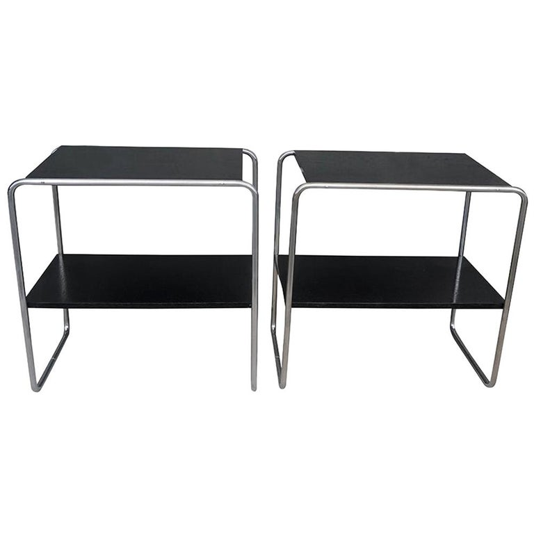 20th Century Pair of Black Console Tables, Austrian Side Tables by Marcel Breuer For Sale