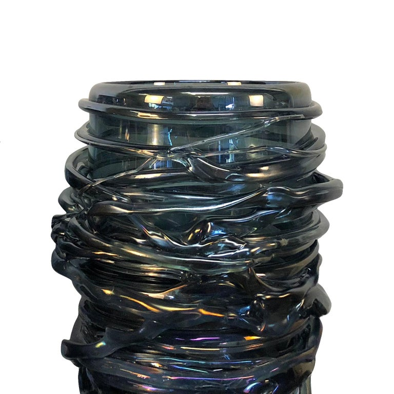 Mid-Century Modern 20th Century Pair of Bleu Fonce Murano Glass Vases by Pino Signoretto For Sale