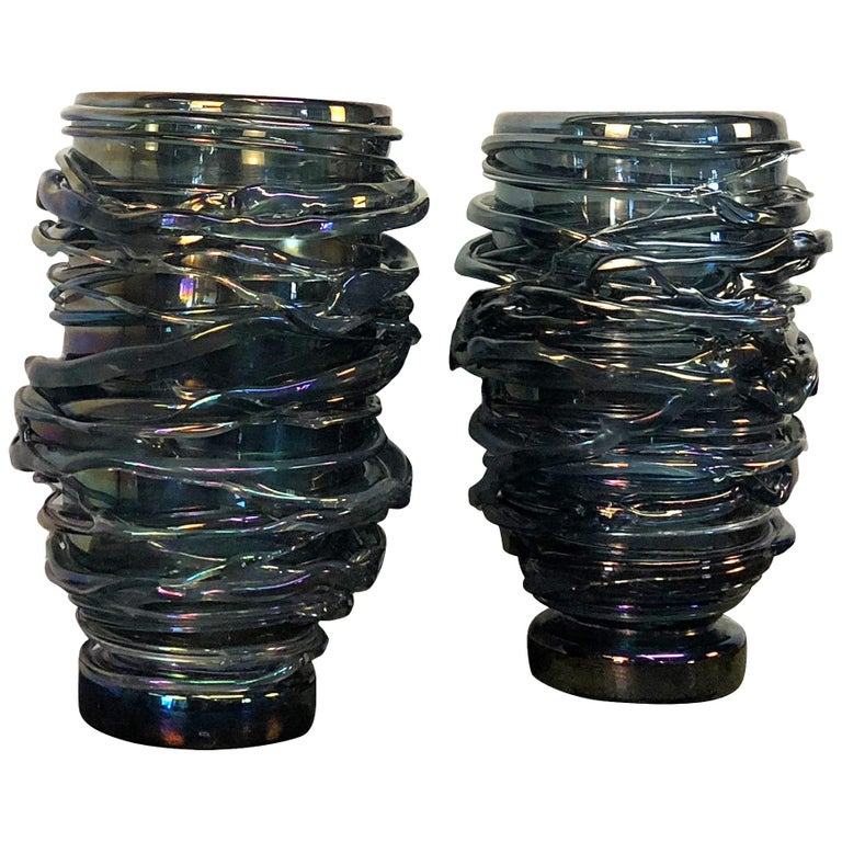 20th Century Pair of Bleu Fonce Murano Glass Vases by Pino Signoretto For Sale