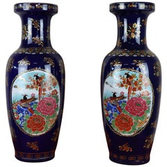 20th Century Pair of Blue Ceramic Vases with Floral Decorations