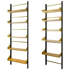 20th Century Pair of Bookcase Feal with Adjustable Shelves in Wood and Aluminium