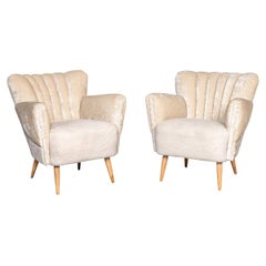 20th Century Pair of Boudoir Shell-Back Chairs, c.1950