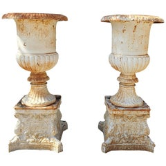 20th Century Pair of Cast Iron Vases with Bases, Garden Furniture