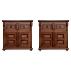 20th Century Pair of Catalan Carved Walnut Tuscan Two Drawers Credenza or Buffet
