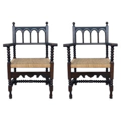 20th Century Pair of Catalan Throne Armchairs in Walnut and Caned Seats