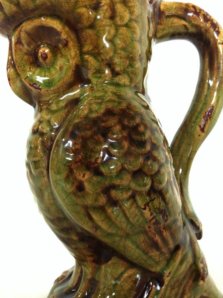 20th Century Pair of Ceramic Glaze Owl Beverage Pitchers For Sale 1
