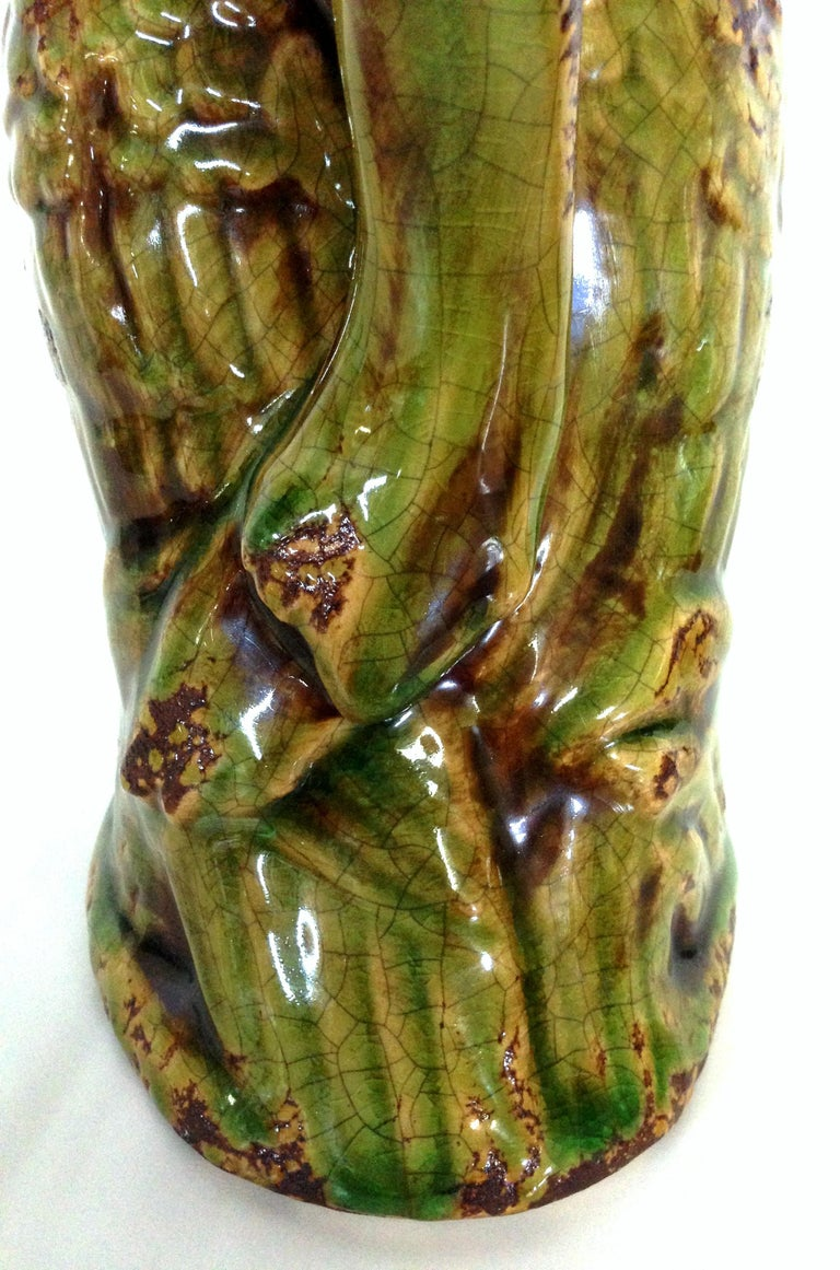 20th Century Pair of Ceramic Glaze Owl Beverage Pitchers For Sale 4