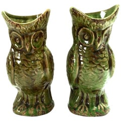 20th Century Pair of Ceramic Glaze Owl Beverage Pitchers
