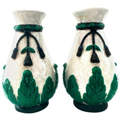 20th Century Pair of Chinese Export Crackle Majolica Style Vases-Signed