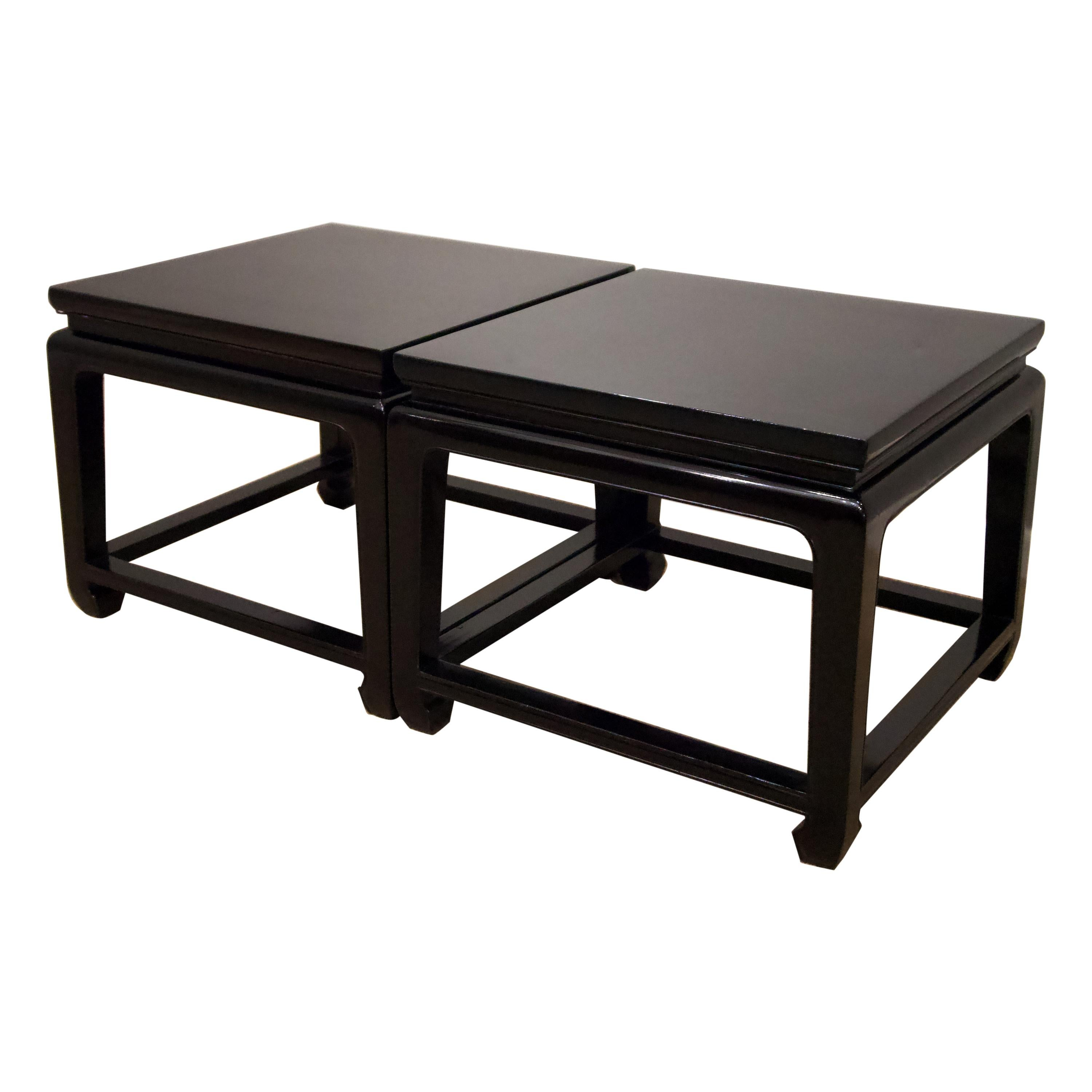 20th Century Pair of Chinese Style Ebonized Side Tables / CoffeeTables