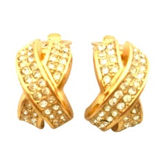 "20th Century Pair Of Christian Dior Gold Plate & Swarovski Crystal ""X"" Earrings"