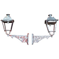 20th Century Pair of Classical Spanish Iron Wall Lamps
