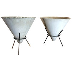 20th Century Pair of Cone Shaped Willy Guhl Planters