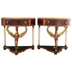 20th Century Pair of Demilune Swan Nightstands with White Marble Top