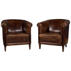 20th Century Pair of Dutch Dark Sheepskin Leather Tub Armchairs