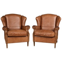 20th Century Pair Of Dutch Leather Wing Back Armchairs c.1970