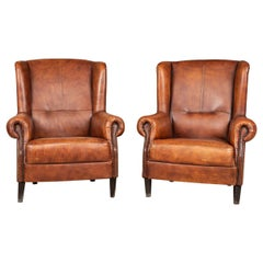 20th Century Pair of Dutch Leather Wing Back Armchairs, c.1970