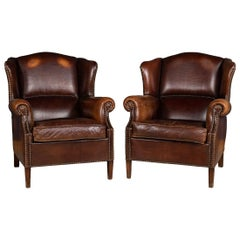 20th Century Pair of Dutch Leather Wing Back Armchairs, circa 1970