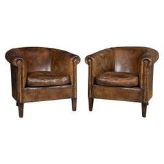 20th Century Pair of Dutch Sheepskin Brown Leather Tub Armchairs