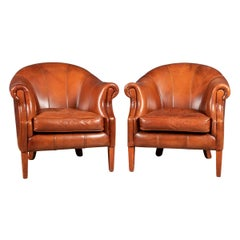 20th Century Pair of Dutch Sheepskin Leather Club Chairs