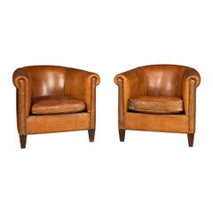 20th Century Pair of Dutch Sheepskin Leather Tub Armchairs